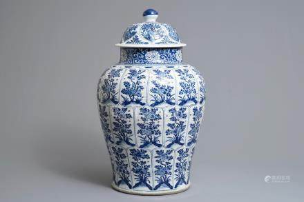 A large Chinese blue and white baluster jar and cover, Kangxi