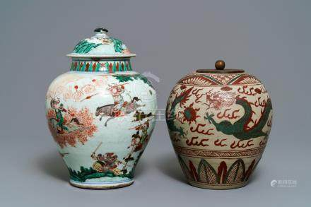 A Chinese famille verte vase and a Swatow jar, Transitional period and 19th C.