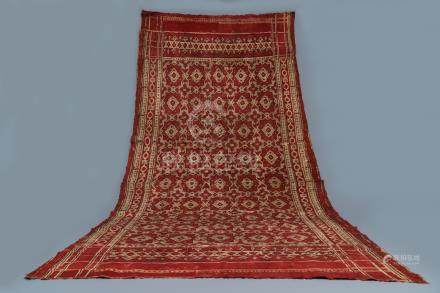 A ceremonial patola ikat sari for the Indonesian market with East India Company-stamps, Gujarat, India, 17th C.