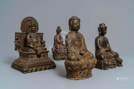 Four bronze figures of Buddha in various poses, China, Japan and Korea, 18/19th C.
