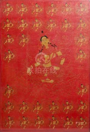 A red-ground thangka of Green Tara, Tibet, 17/18th C.