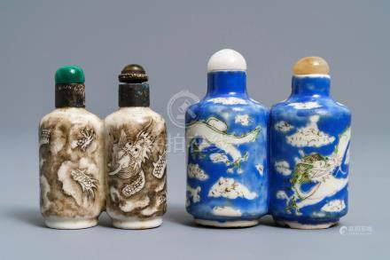Two Chinese porcelain twin snuff bottles with dragons, 19th C.