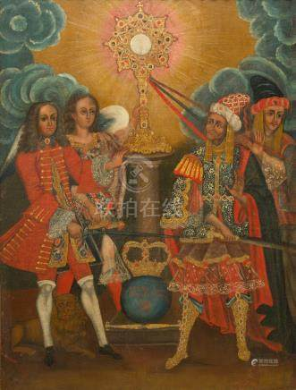Cusco School, Peru: Emperor Charles II in defense of the Eucharist, oil on canvas, 17th C.