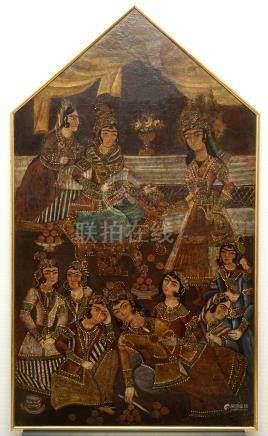 A Qajar arch-shaped oil on canvas: Zulaikha's servants cutting their hands as Yusuf appears, Qajar, 19th C.