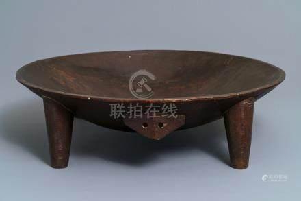 A large wooden Tanoa Dina or Kava bowl, Fiji, 19th C.