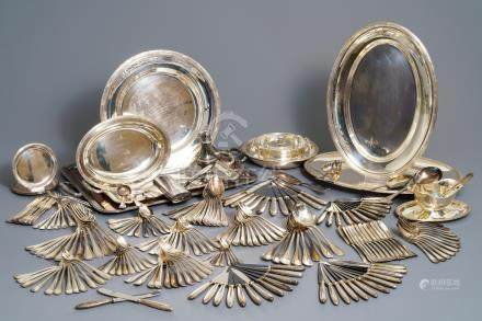 A collection of silver-plated cutlery and tableware, Christofle, France, 20th C.
