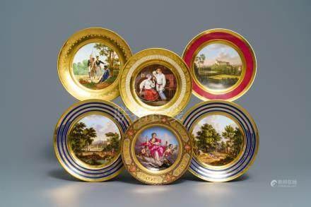 Six gilt porcelain plates, various origins, 18/19th C.
