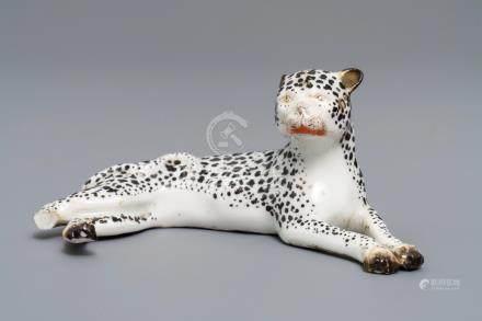 A Meissen porcelain model of a leopard, Germany, 19th C.