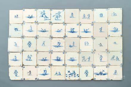 Forty various Dutch Delft blue and white tiles, 17/18th C.