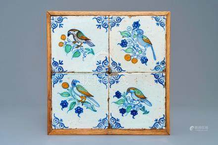 Four polychrome Dutch Delft 'bird' tiles, 17th C.