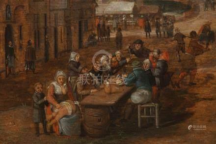 Flemish school: Village festival with festive table, oil on panel, 17th C.