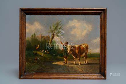 Albertus Verhoesen (1806-1881): Young man with a bull, oil on panel, signed and dated 1860