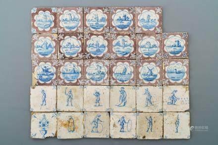 Twenty-nine Dutch Delft blue, white and manganese tiles, 17/18th C.