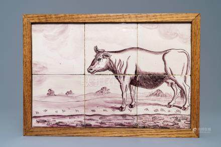 A Dutch Delft manganese tile mural with a cow, 18th C.