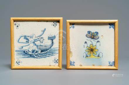 Two polychrome and blue and white Dutch Delft tiles, 17th C.