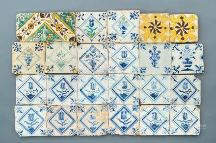 A varied collection of Spanish and Dutch Delft blue, white and polychrome tiles, 17th C.