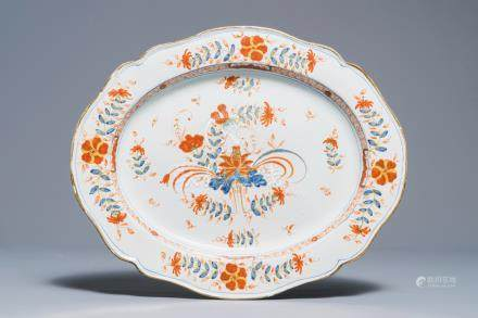 A large Italian faience Imari-style dish, Faenza, Ferniani workshop, 18th C.