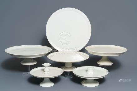Six large monochrome white French porcelain tazza, 19th C.