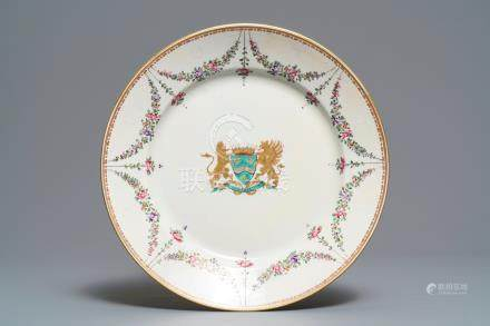 A famille rose-style armorial dish with the arms of Empain, Samson, Paris, 19th C.