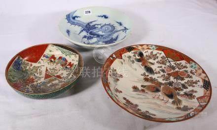 Chinese blue and white dragon dish, 28 cm, a Kutani dish 21 cm and a modern Kutani plate decorated