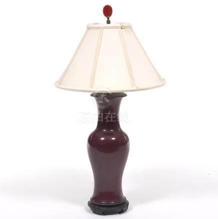 Porcelain Sang de Boeuf Vase Converted to a Lamp