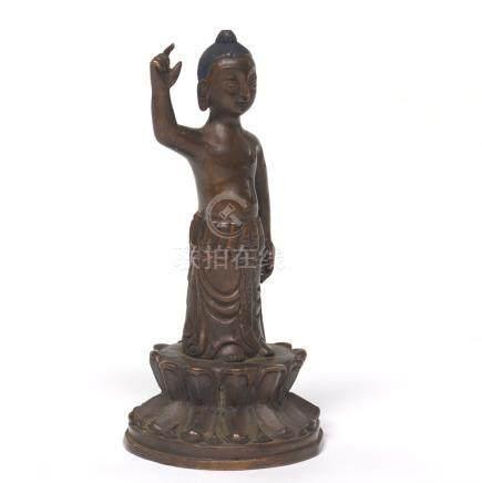 Tibetan Patinated Bronze Cabinet Sculpture of Buddha on Lotus Throne