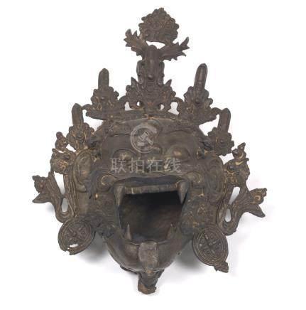 Tibetan Antique Patinated Bronze Cast Head of Mahakala (Buddhist Protector)