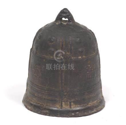 Sino-Tibetan Antique Patinated Cast Iron Bell