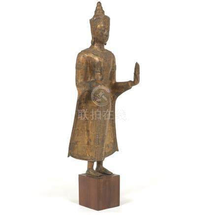 Antique Gilt Bronze Large Sculpture of Standing Buddha in Double Abhaya Mudra, on Wood Base, Thaila