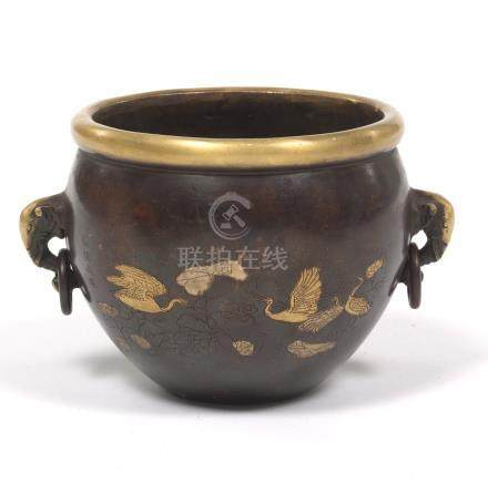 Chinese Bronze Elephant Handle Bowl with Gilt/Silver Splashes, Apocryphal Xuande Seal-Mark