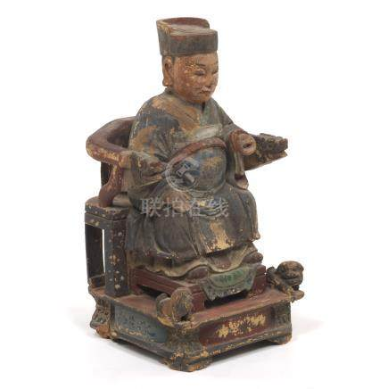 Chinese Qing Dynasty Carved and Painted Sculpture of Official on Armchair, ca. Early 19th Century