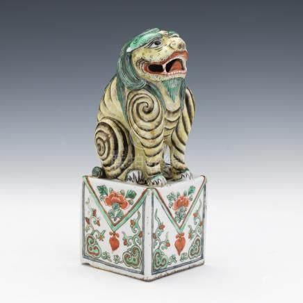 Chinese Porcelain Glazed Foo Dog