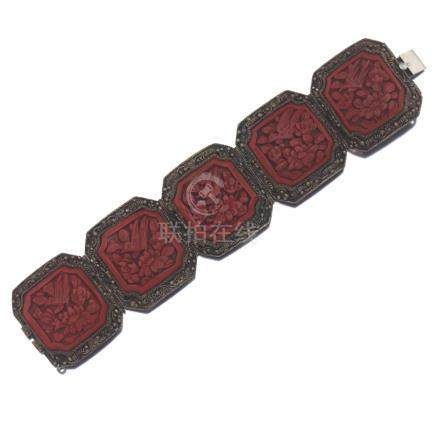 Chinese Export Silver Gilt Metal and Carved Cinnabar Bracelet
