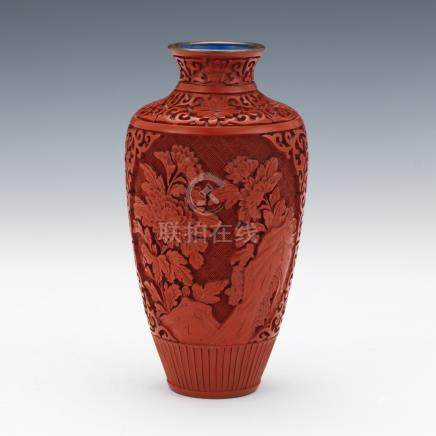 Red Cinnabar Vase Over Enamel