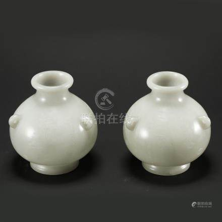 PAIR OF CHINESE JADE WATER POTS