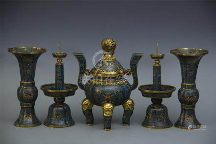 FIVE PIECES OF CHINESE CLOISONNE CENSER CANDLE HOLDERS AND GU VASES