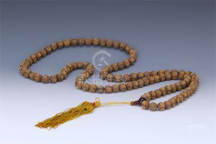 CHINESE GILT SILVER AGALWOOD BEAD BUDDHIST NECKLACE