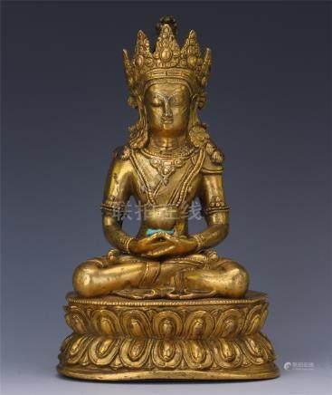CHINESE GILT BRONZE SEATED AMITABHA BUDDHA