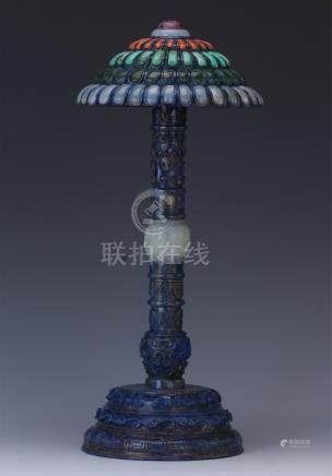 CHINESE LAPIS TURQUOISE CORAL JADE INLAID HAT HOLDER