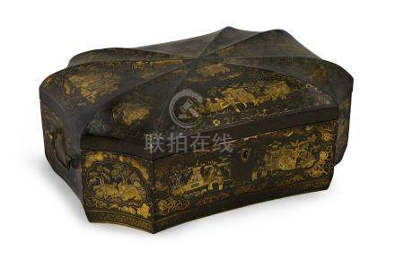 A Chinese export lacquer box, 19th century, of rectangular hexagonal shape with domed shaped top and