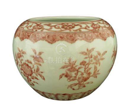 A Chinese porcelain water pot, pingguo zun, late 20th century, painted in underglaze copper red with
