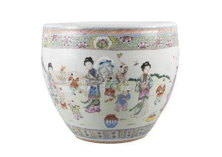 A Chinese porcelain jardiniere, mid-19th century, painted in famille rose enamels with women and