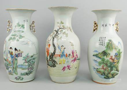Three Republican period Chinese porcelain vases, 20th century, decorated with scenes of children