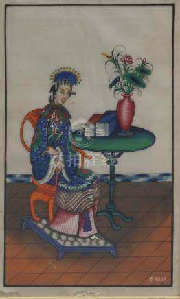 Two Chinese export paintings of a seated Mandarin and his consort, with tables supporting