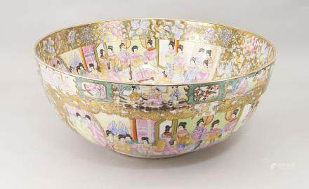 A large Chinese porcelain punch bowl, late 20th century, in the Canton taste, decorated with