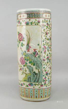 A Chinese porcelain cylindrical stick stand, 20th century, painted with panels of birds and flowers,