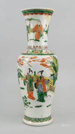 A Chinese porcelain famille vert vase, 19th century, in the Kangxi taste, decorated with ladies in
