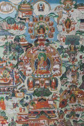 A Tibetan painted thangka, 19th century, centered with Shakyamuni Buddha, surrounded by various