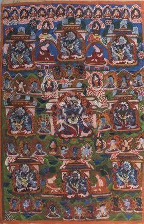 A Tibetan thangka, late 19th/early 20th century, centered with Makahala surrounded by all eight