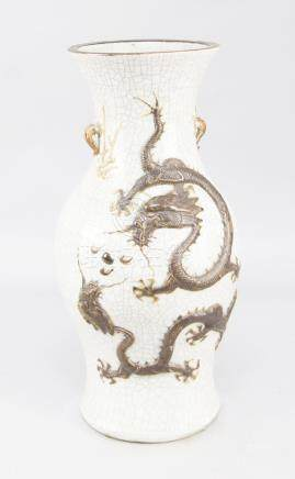 A Chinese porcelain crackle glazed baluster vase, late 19th/early 20th century, applied with long